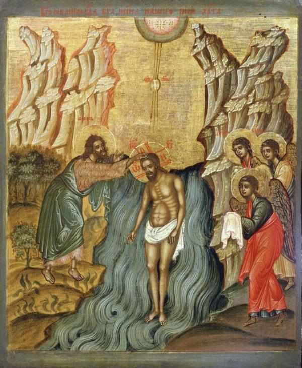 икона Крещение 17в