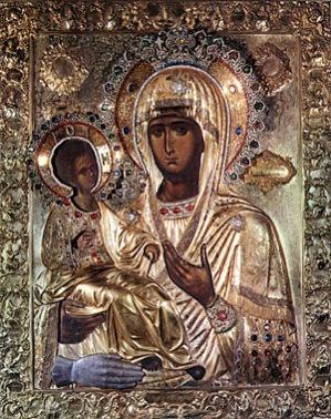 Икона Божией Матери «Троеручица» (Трихейруса) из афонского монастыря
